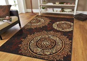 Large Contemporary Area Rugs 15×15 Modern Living Room Rugs 15×15 Black Brown  Beige Cream Floral Rugs Clearance Area Rug Prime – living room rugs 9×12