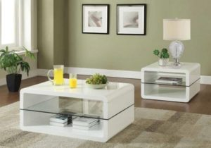LIVING ROOM: GLASS TOP OCCASIONAL TABLES – Modern White Coffee Table – living room table