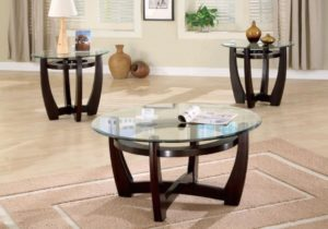 LIVING ROOM : OCCASIONAL SETS – Contemporary Cappuccino Three-Piece Round  Table Set – living room table sets