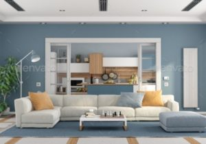 Living room with sofa and modern kitchen on background – living room background