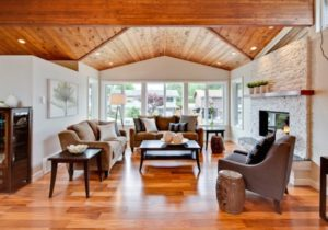 Living Room With Vaulted Wood Ceiling – Transitional – Living Room ..