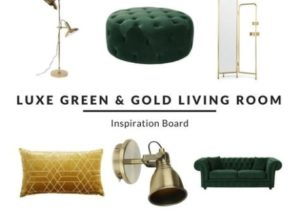 Luxe Green and Gold Living Room – Furnishful's Living Room Ideas ..