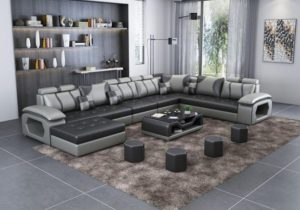 Luxury Modern U Shaped Leather Fabric Corner Sectional Sofa Set Design  Couches For Living Room With Ottoman – for living room