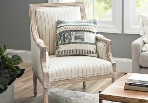McKenna Gray and Cream Stripe Accent Chair – living room chairs