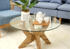 Mcombo Modern Mid-Century Glass Round Coffee Table for Living Room 19 inch  Wood Frame 19-TREE-CT – living room glass table