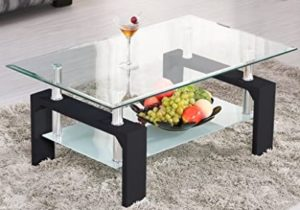 Mecor Rectangle Glass Coffee Table-Modern Side Coffee Table with Lower  Shelf Black Wooden Legs-Suit for Living Room – living room glass table