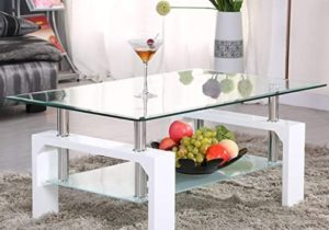 Mecor Rectangle Glass Coffee Table-White Modern Side Coffee Table with  Lower Shelf Wooden Legs-Suit for Living Room – living room glass table