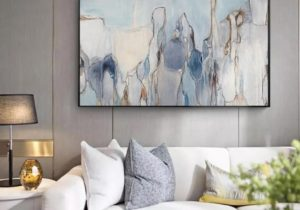 Modern Abstract Living Room Wall Art Vintage Subdued Palette Nordic  Contemporary Blue Black Grey Fine Art Canvas Prints Living Room Wall Decor – living room wall art