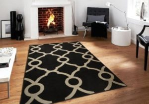 Modern Area Rugs19x19 Ctemporary Black & Gray Rug For Living Room 19×19 – living room 5×8 rug
