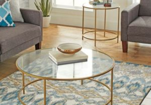 Modern Glass Coffee Table Round Contemporary Living Room Tables Gold Finish – living room glass table