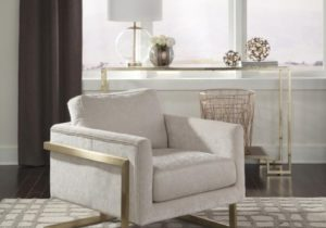 Modern Ivory and Brushed Brass Accent Chair – living room chairs
