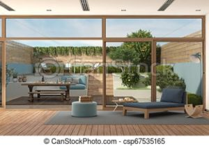 Modern living room with garden on background – living room background