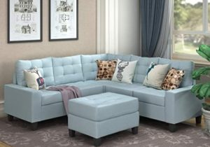 MOOSENG Sofa Sectional Set, Symmetrical Couch Linen-Like Left or Right Hand  with Ottoman, 20 Pieces for 20 Seaters, Living Room Furniture, Blue – living room furniture sets