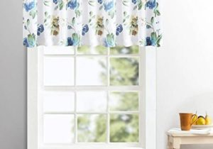 MRTREES Sheer Valances Living Room Floral Print 12 Inches Long Valance  Curtains Cotton Blend Drapes Blue Leaf Flower Printed Voile Bedroom Multi  Color ..