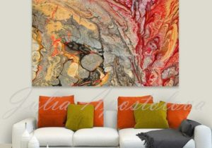 Print on Canvas, Abstract Painting, Red and Gold, Colorful Wall ..