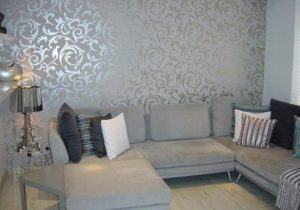 Purple White and Grey Bedroom in 21 | Grey wallpaper living room ..