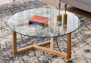 Round Glass Coffee Table Modern Cocktail Table Easy Assembly Sofa Table for  Living Room with Tempered Glass Top & Sturdy Wood Base (Oak) – living room glass table