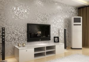 Silver Wallpaper.. ACTUALLY IN LOVE WITH THIS | Wallpaper living ..