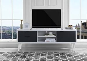 Sofamania Mid-Century Style TV Stand, Living Room Entertainment Center  (White/Dark Grey) – living room tv