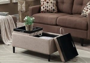 Storage Ottoman Coffee Table Beige Upholstery Reversible Tray Top Living  Room | eBay – living room ottoman