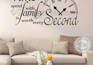 Time Spent with Family is Worth Every Second Inspirational Wall Sticker  Quote, Living Room Home Vinyl Wall Art Decor Decal 20 – living room quotes