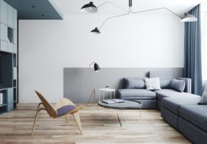 Two Small Apartments: A Blue Oasis of Minimalist Living – living room minimalist