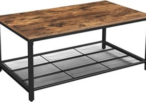 VASAGLE INDESTIC Coffee Table, Living Room Table with Dense Mesh Shelf,  Large Storage Space, Cocktail Table, Easy Assembly, Stable, Industrial  Design, ..