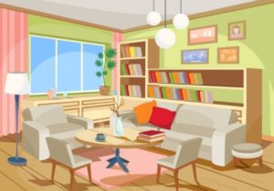Vector illustration of a cozy cartoon interior of a home room, a ..