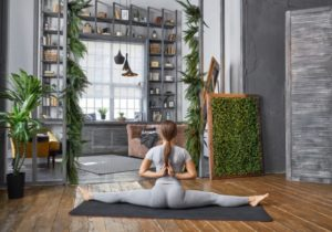 Woman practicing yoga in the living room Stock Photo 18 free download – living room yoga