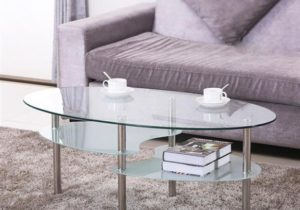 Yaheetech 19 Tier Modern Living Room Oval Glass Coffee Table Round Glass  Side Table End Tables All Clear with Chrome Finish Legs Cocktail Table – living room glass table
