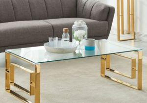 Yurokwid Clear Tempered Glass Living Room Coffee Table in Gold – living room glass table